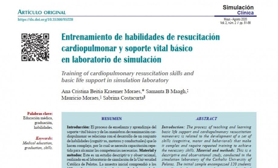 Simlab publica artigo científico na Revista Latino-americana de Simulação Clínica